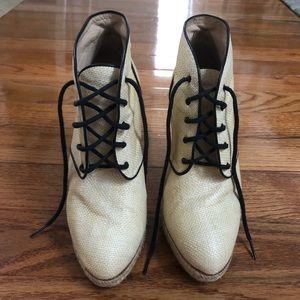Loeffler Randall woven lace-up booties 8.5